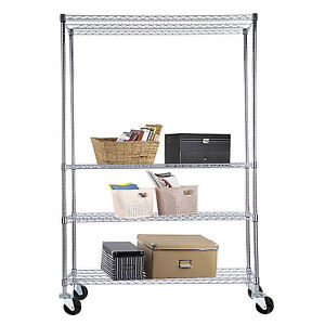82 x48 x18 4 Tier Shelving Rack Heavy Duty Adjustable Chrome Wire Steel Shelf