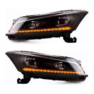 Drl Projector Dual Beam Front Lamps Led Headlights For 2008 2012 Honda Accord