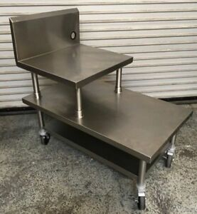 24x60 2 Tier Equipment Stand Table On Wheels Stainless Steel Tabco 7239 Nsf