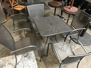 28x28 Patio Outdoor Metal Table Chairs Set 7687 Commercial Restaurant Dining