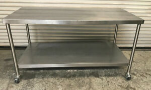 66 X 30 Stainless Steel Work Table W Bottom Shelf And Wheels 7558 Commercial