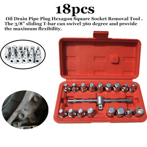 18pc Oil Drain Sump Plug Key Socket Set Gearbox And Axel Removal Wrench Tool Box