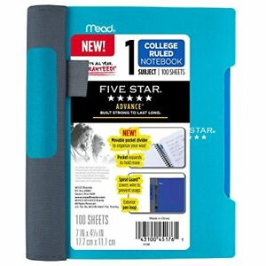 Five Star Advance Teal 1 subject College Ruled 7x5 Spiral Notebook Quick Comf