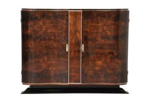 Small French Art Deco Walnut Buffet Sideboard
