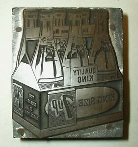 7 Up Letterpress Newspaper Printing Wood Block Plate Vintage Quality King