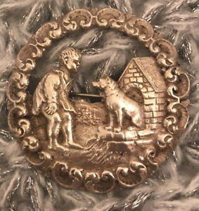 Antique Vintage Norway 830s Silver Large Rare Brooch Boy With Dog