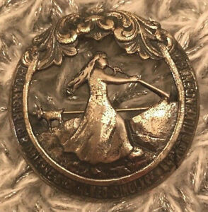 Antique Vintage Norway 830s Silver Large Rare Historical Brooch