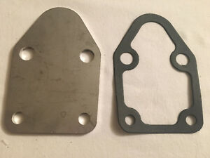 Sbc Small Block Chevy Stainless Steel Fuel Pump Block Off Plate And Gasket New