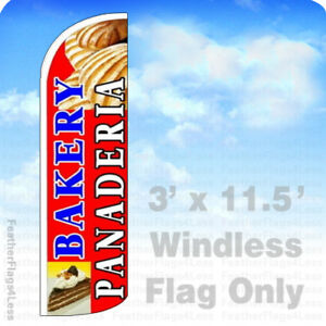 Bakery Panaderia Windless Swooper Flag Feather Banner Sign 3 x11 5 Rq