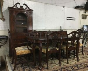 Vintage Chippendale Flame Mahogany Dining Room Set All Original Must C
