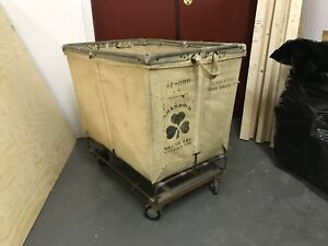 Vtg Shamrock Industrial Canvas Steampunk Basket Cart With Wheel Casters