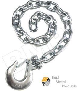 2 35 Safety Chain 3 8 Slip Hook Clip Trailer Heavy Duty Towing Auto Pull 145