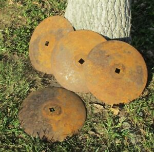 4 Plow Disc Blades Industrial Steampunk Farm International Vintage Cast Iron A30