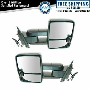 Towing Mirror Manual Led Signal Spotlight Oat Textured Black Pair For Gm Pickup