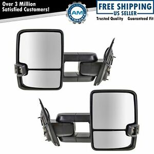 Tow Mirror Manual Signal Marker Light Spotlight Oat Chrome Pair For Gm Pickup