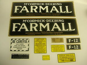 Ihc Farmall F 12 Tractor Decal Set Complete New Free Shipping