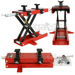 Motorcycle Lift Jack Atv Scissor Center Wide Deck Hoist Lift Stand Red 1100 Lb
