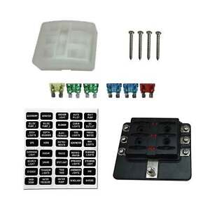 6 Way Polaris RZR Can-am UTV ATV 12V Blade Fuse Box Block Cover & LED Indicators