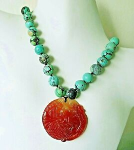Vintage Antique Chinese Carved Natural Turquoise Carnelian Necklace 122gms 17