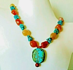 Big Vintage Antique Chinese Carved Natural Turquoise Carnelia Necklace 164gm 20