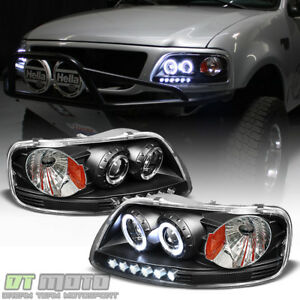 Blk 1997 2003 Ford F150 97 02 Expedition Led Halo Projector Headlights Headlamps