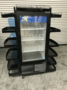 Glass Door Beverage Cooler Refrigerator With Shelves On Sides Habco Esm10 7799