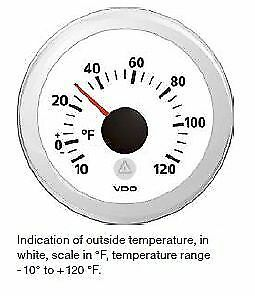 Vdo Marine Viewline White Outside Temperature Gauge 25 50 c 12 24v 52mm