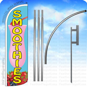Smoothies Windless Swooper Flag Kit Feather Banner Sign 15 Light Blue Q