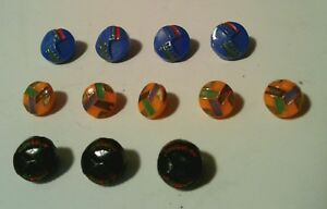 Vintage Antique Deco 12 Small Self Shank Decorated Colored Czech Glass Buttons