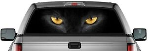 Perforated Vinyl Sticker Black Cat Eyes Pick up Truck Back Window Graphic Decal