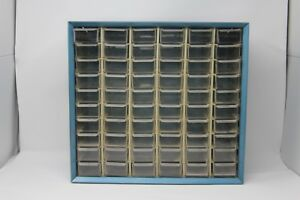 Large Vintage Akro mills 60 Drawer Compartment Storage Cabinet Metal Blue 1a