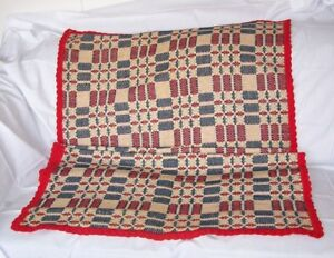 Antique Wool Linen Coverlet Geometric Overshot Red Blue White Red Edge
