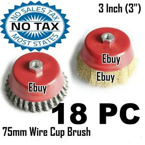 18pc 3 X 5 8 Arbor Fine Crimp Knot Wire Cup Brush Twist Angle Grinders