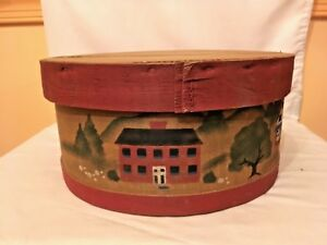 Wooden Round Storage Box Pantry Box Cheese Crate 11 Painted Cottages Pa Dutch