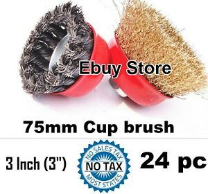 24pc 3 X 5 8 Arbor Fine Crimp Knot Wire Cup Brush Twist Angle Grinders