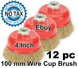 12pc 4 X 5 8 Arbor Fine Crimped Wire Cup Wheel Brush For Angle Grinders