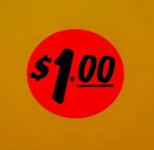 10000 Labels 1 25 Round Bright Red 1 00 Retail Price Point Pricing Stickers 1