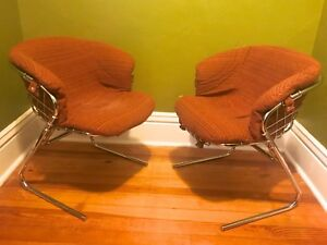 Gastone Rindali For Rima Chrome Cantilever Wire Frame Chairs Mid Century Modern