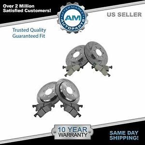 Front Rear Posi Ceramic Brake Pad Performance Drilled Slotted Rotor Kit