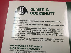 Minneapolis Moline Tractor I t Shop Service Manual G550 G750 G850 G940 G955 O202