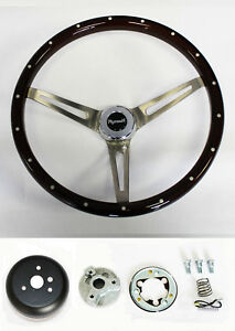 Barracuda Cuda Fury Belvedere Wood Steering Wheel 15 High Gloss Grip W Rivets