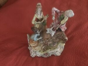 Vtg Big Ceramic Figural Lamp Lady Playing Piano Bangor Man Playing Violin