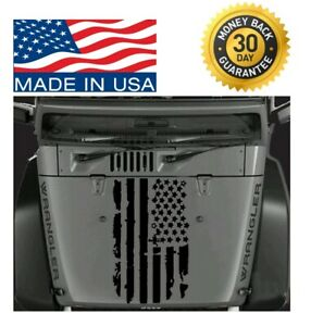 Distressed Usa Flag Hood Vinyl Decal Sticker Fits Any Hood Jeep Wrangler