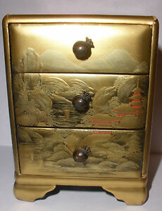 Nice Antique Japanese Gold Lacquer Miniature Cabinet With 3 Drawer