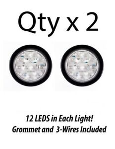 Qty 2 4 Inch Round 12 Led Truck Trailer Tail Reverse Light White With Grommet