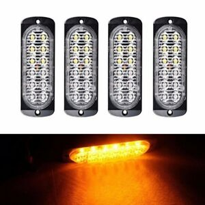 4x Amber 12 Led Flash Recovery Strobe Car Emergency Light Grill Breakdown 12 24v