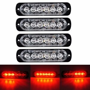 4x Red Red 6led Car Truck Emergency Beacon Warning Hazard Flash Strobe Light
