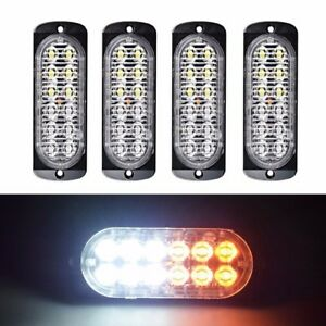 4x Amber White 12 Led Flash Recovery Strobe Car Emergency Light Grill Breakdown