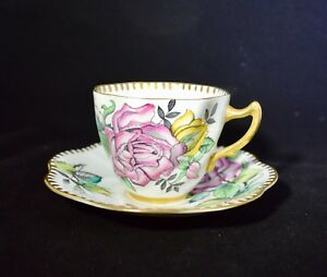Rosina Tea Cup And Saucer 4856 With Yellow And Pink Cabbage Roses