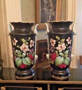 Pair Of Antique Old Paris Porcelain Floral Decorated Handled Vases